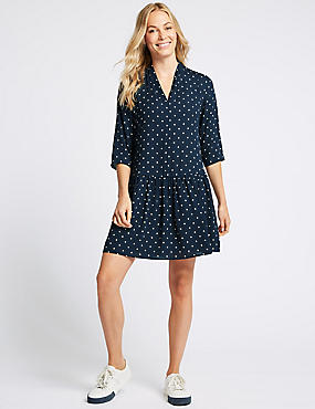 Diamond Print Drop Waist Mini Dress, NAVY MIX, catlanding