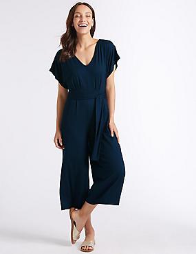 Short Sleeve Jumpsuit , NAVY, catlanding