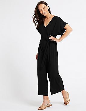 Short Sleeve Jumpsuit , BLACK, catlanding