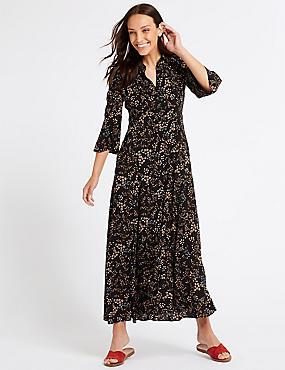 Floral Print 3/4 Sleeve Shirt Maxi Dress, BLACK MIX, catlanding