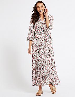Floral Print 3/4 Sleeve Shirt Maxi Dress, IVORY MIX, catlanding
