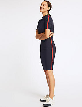 Side Stripe Short Sleeve Bodycon Dress , NAVY MIX, catlanding