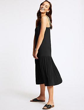 Tiered Slip Midi Dress , BLACK, catlanding