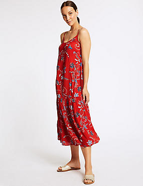 Floral Print Slip Midi Dress , RED MIX, catlanding