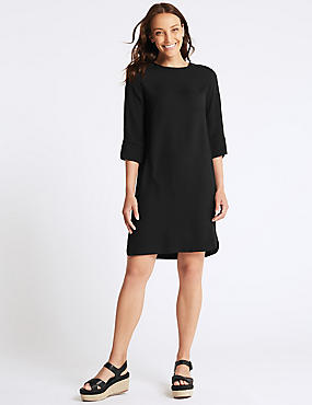 3/4 Sleeve Shift Dress , BLACK, catlanding