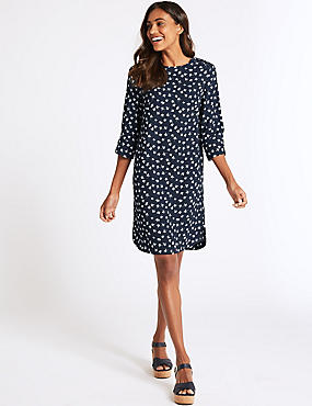 Printed Round Neck 3/4 Sleeve Shift Dress , NAVY MIX, catlanding