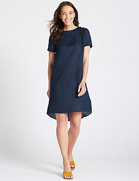 Pure Linen Short Sleeve Tunic Dress , NAVY, catlanding