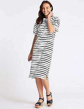 Pure Cotton Striped Short Sleeve Shift Dress, NAVY MIX, catlanding