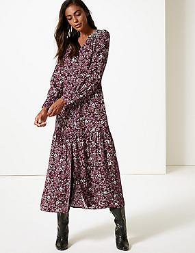 Floral Print Long Sleeve Shirt Maxi Dress , PLUM MIX, catlanding