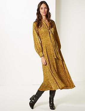 Animal Print Long Sleeve Skater Midi Dress , YELLOW MIX, catlanding
