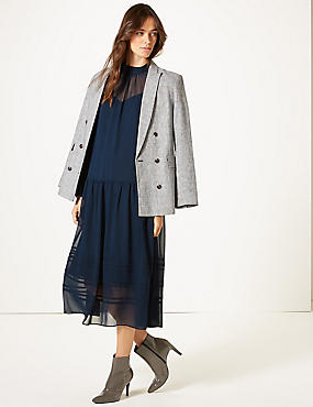 Long Sleeve Drop Waist Midi Dress, NAVY, catlanding