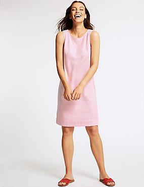 Linen Blend Tunic Dress , PINK, catlanding
