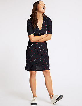 Printed Jersey Half Sleeve Tea Dress , NAVY MIX, catlanding
