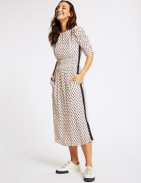 Floral Print Half Sleeve Swing Midi Dress , IVORY MIX, catlanding