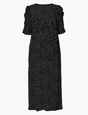 Maternity Polka Dot Waisted Midi Dress, BLACK MIX, catlanding