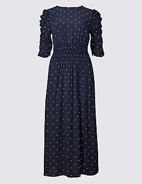 Star Print Half Sleeve Swing Midi Dress , NAVY MIX, catlanding