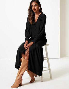 Long Sleeve Shirt Maxi Dress , BLACK, catlanding