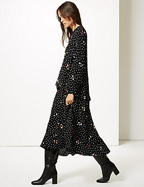 Floral Print Drop Waist Maxi Dress , BLACK MIX, catlanding
