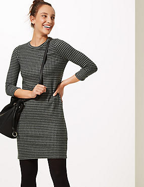Cotton Blend Checked 3/4 Sleeve Shift Dress, BLACK MIX, catlanding