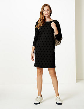 Pure Cotton Spotted Long Sleeve Shift Dress, BLACK MIX, catlanding