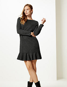 Textured Long Sleeve Shift Dress, GREY, catlanding