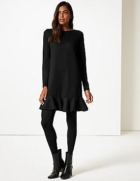 Textured Long Sleeve Shift Dress, BLACK, catlanding