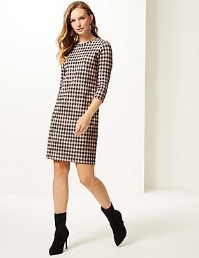 Cotton Blend Checked 3/4 Sleeve Shift Dress , PINK MIX, catlanding