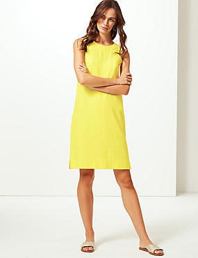 Linen Blend Round Neck Shift Dress , YELLOW, catlanding