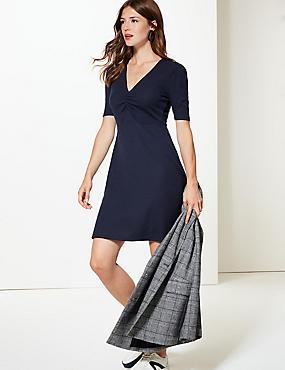 Textured Half Sleeve Tea Dress , NAVY, catlanding