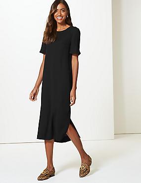 Short Sleeve Tunic Dress, BLACK, catlanding