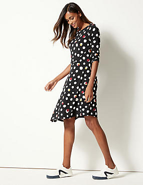 Spotted 3/4 Sleeve Skater Midi Dress , BLACK MIX, catlanding
