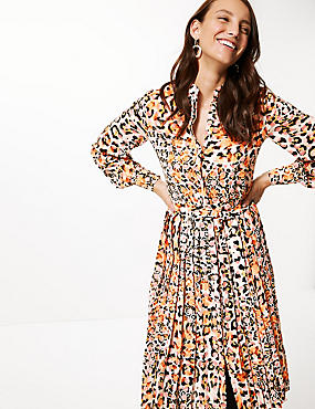 Animal Print Long Sleeve Shirt Midi Dress, ORANGE MIX, catlanding