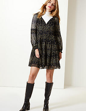 Floral Print Long Sleeve Drop Waist Dress, BLACK MIX, catlanding