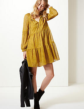 Spotted Drop Waist Mini Dress, OCHRE, catlanding