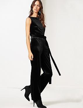 Velvet Maxi Jumpsuit , BLACK, catlanding