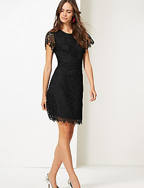 Lace Short Sleeve Skater Dress , BLACK, catlanding