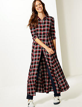 Checked Long Sleeve Shirt Maxi Dress , RED MIX, catlanding