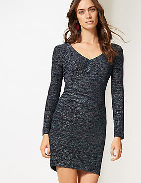 Sparkly Jersey Long Sleeve Bodycon Dress, MULTI, catlanding