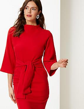 Tie Front 3/4 Sleeve Shift Dress, RED, catlanding