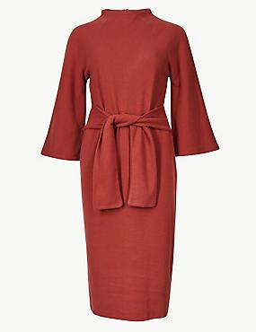 Tie Front 3/4 Sleeve Shift Dress, BRANDY, catlanding