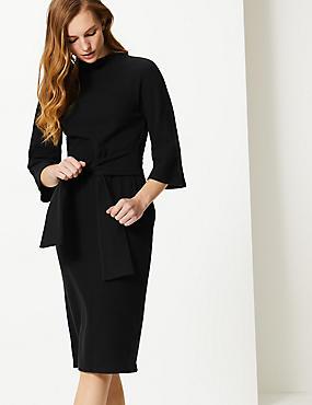 Tie Front 3/4 Sleeve Shift Dress, BLACK, catlanding