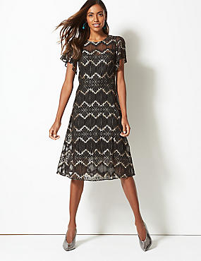 Lace Short Sleeve Swing Midi Dress, BLACK MIX, catlanding