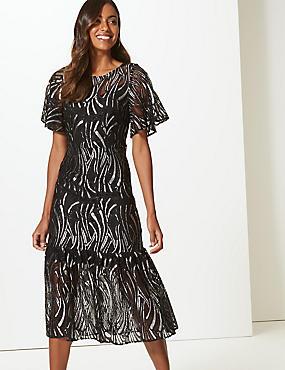 Lace Short Sleeve Midi Dress , BLACK MIX, catlanding