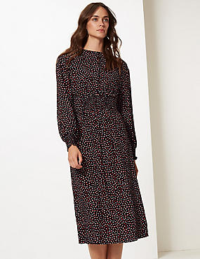 Spotted Long Sleeve Skater Midi Dress, BLACK MIX, catlanding
