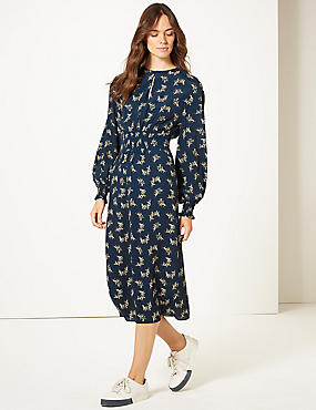 Long Sleeve Skater Midi Dress , NAVY MIX, catlanding