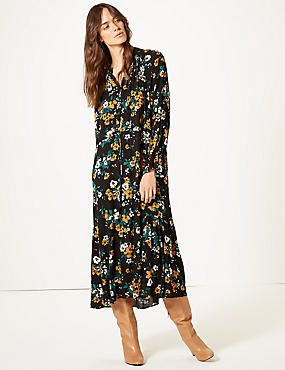 Floral Print Drop Waist Midi Dress, GREEN MIX, catlanding