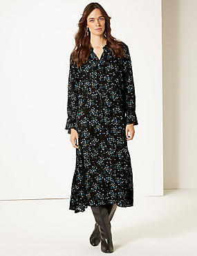 Floral Print Drop Waist Midi Dress, BLACK MIX, catlanding
