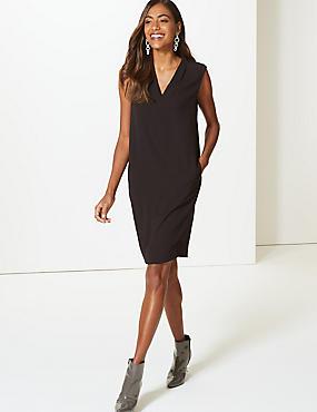 Woven Shift Dress , BLACK, catlanding
