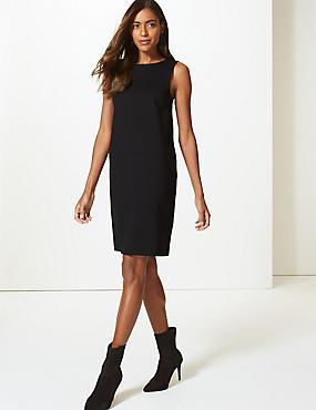 Ponte Shift Dress , BLACK, catlanding