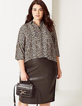 CURVE Animal Print Long Sleeve Shirt , BLACK MIX, catlanding